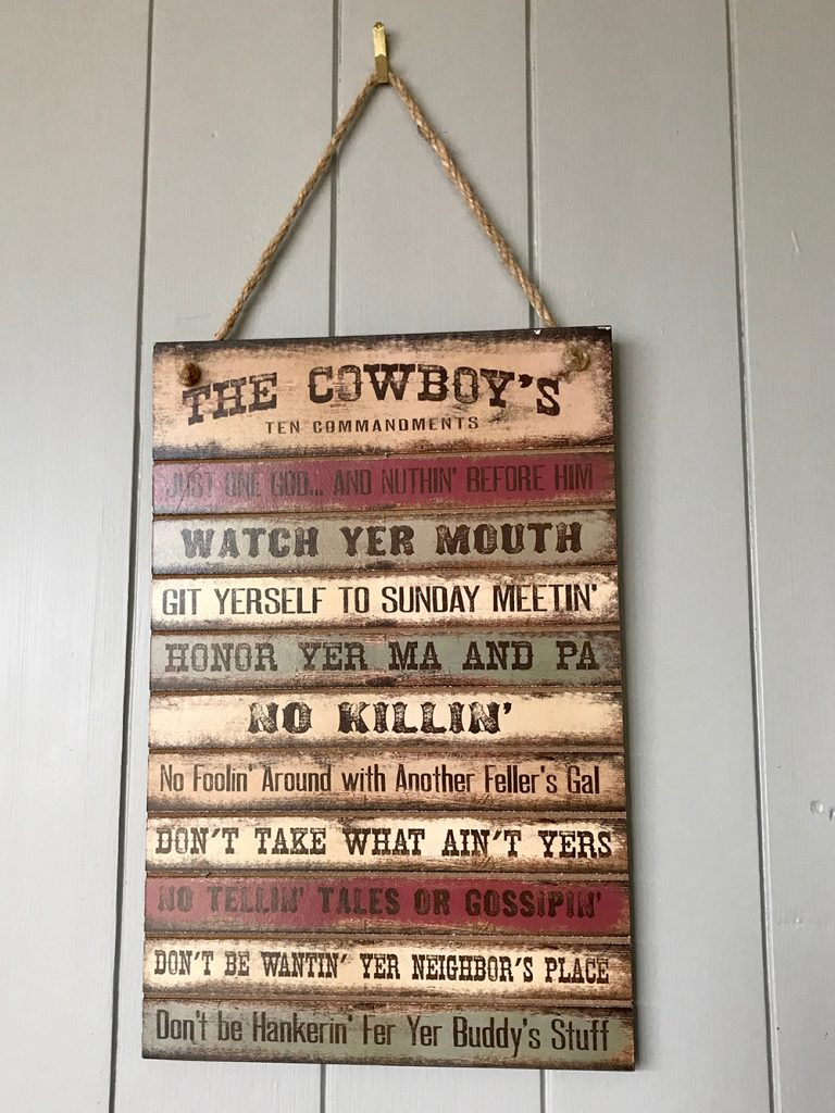 The Cowboy Ten Commandments
