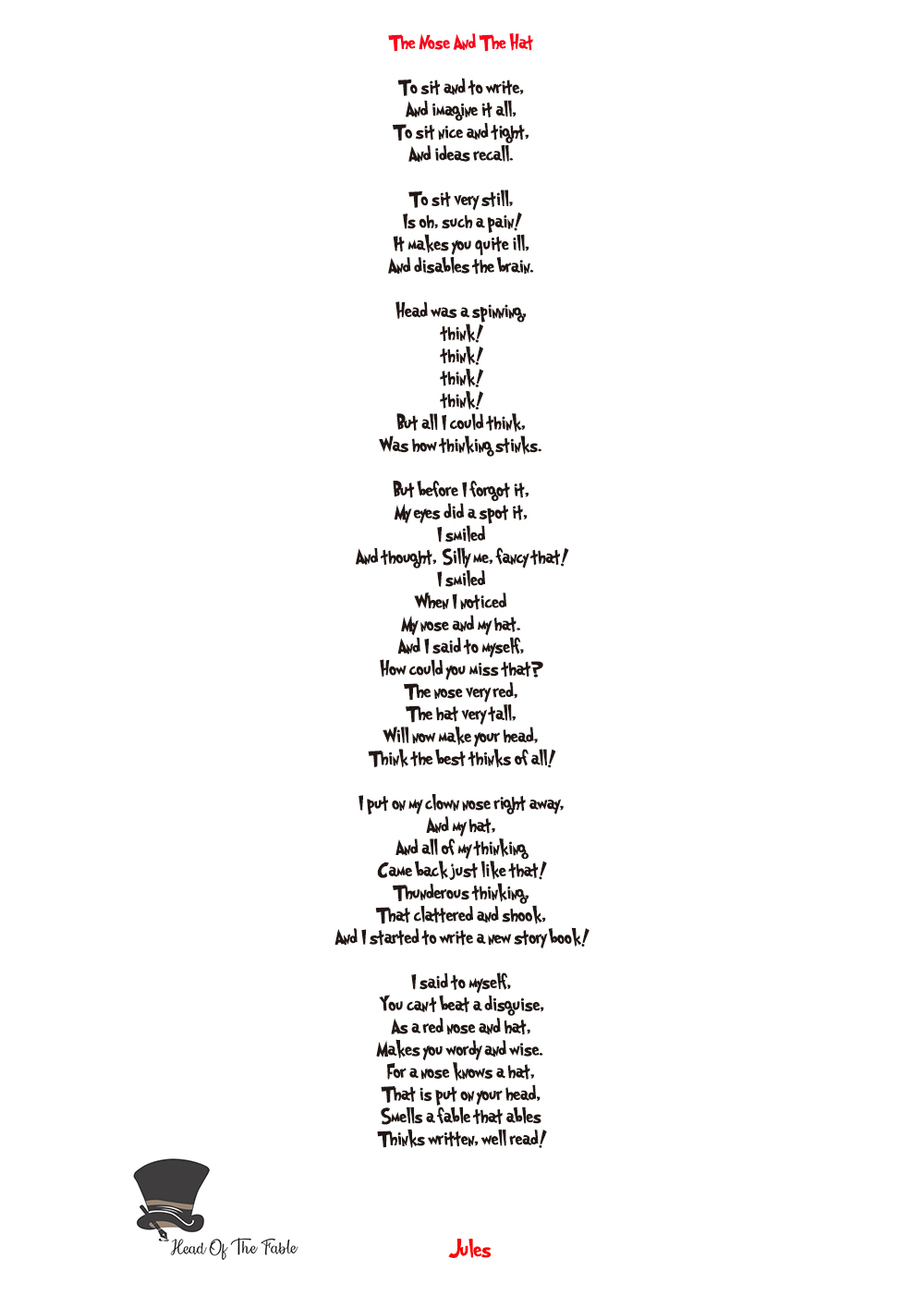 Dr. Seuss style poem by Jules Smith