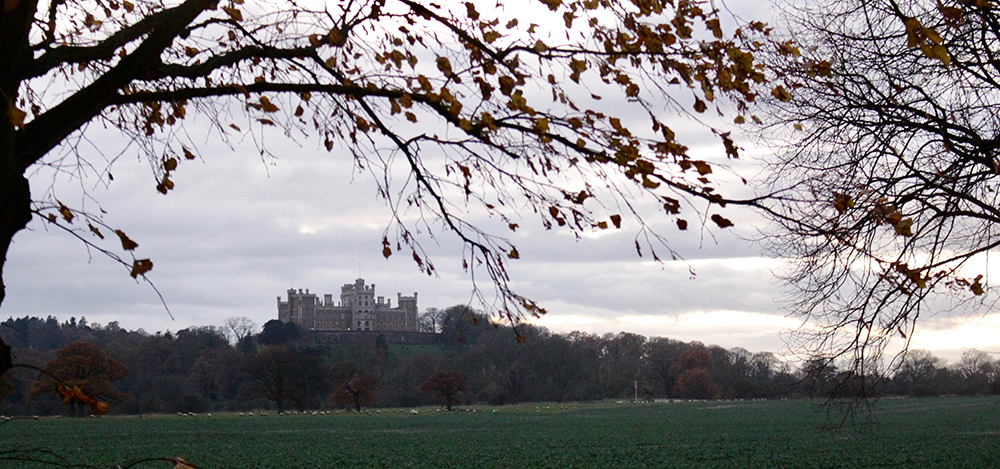Belvoir Castle on the hill