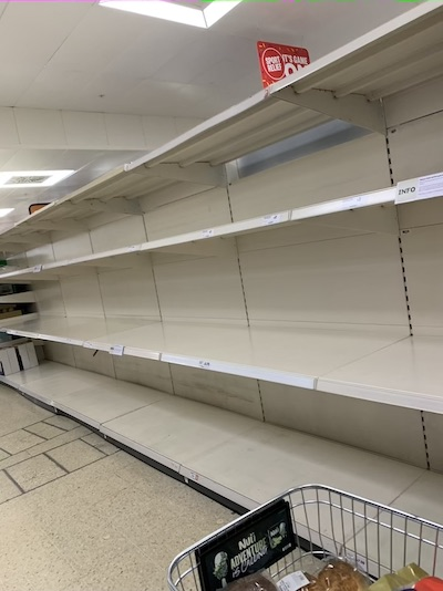 Empty aisles in supermarkets due to covid-19