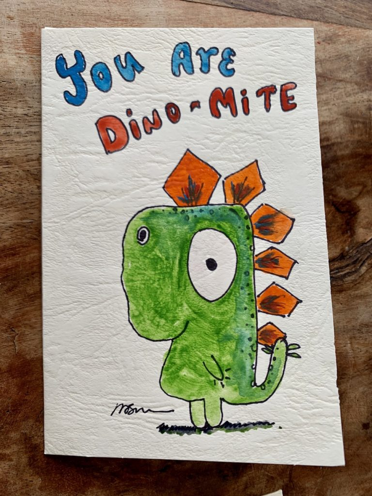 card with cartoon dinosaur