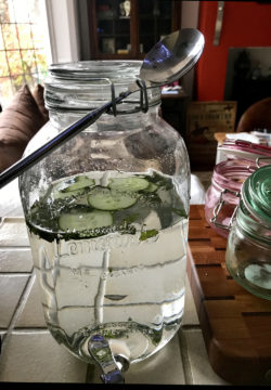 cucumber water in glass jar