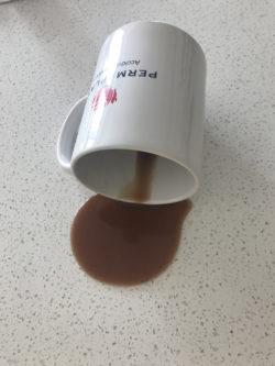 Spilled drink in mug