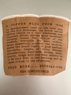 story on the back of a coffee cup