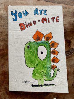 card with cartoon dinosaur
